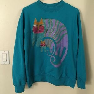 Vintage Laurel Burch Cat Pullover Sweatshirt